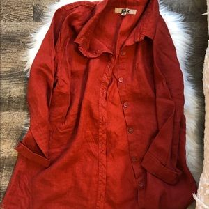 Flax 100 % linen coral button down shirt